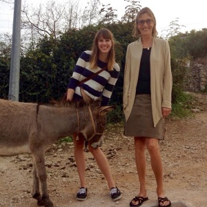 Karly and Teresa with a donkey in Croatia in 2014
