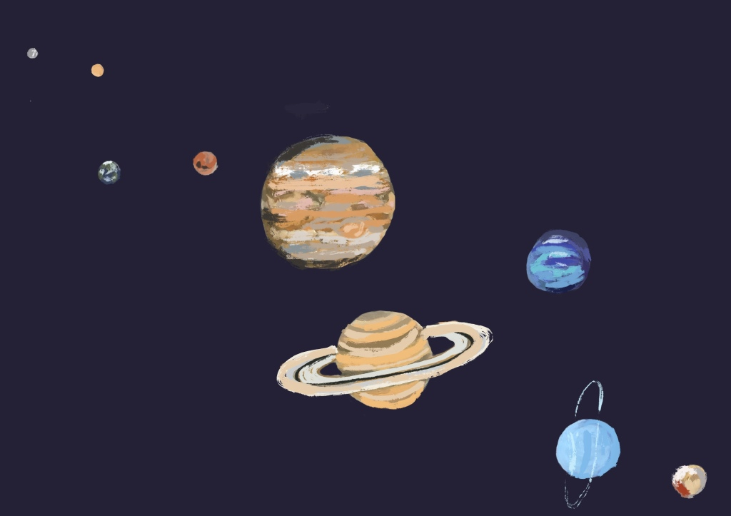 An illustration of the planets in space