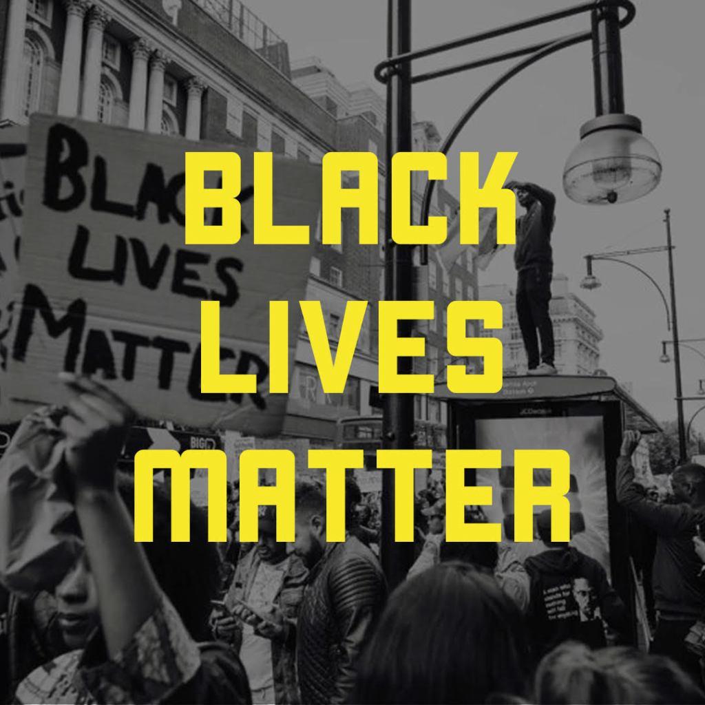Black Lives Matter graphic against backdrop of protestors.