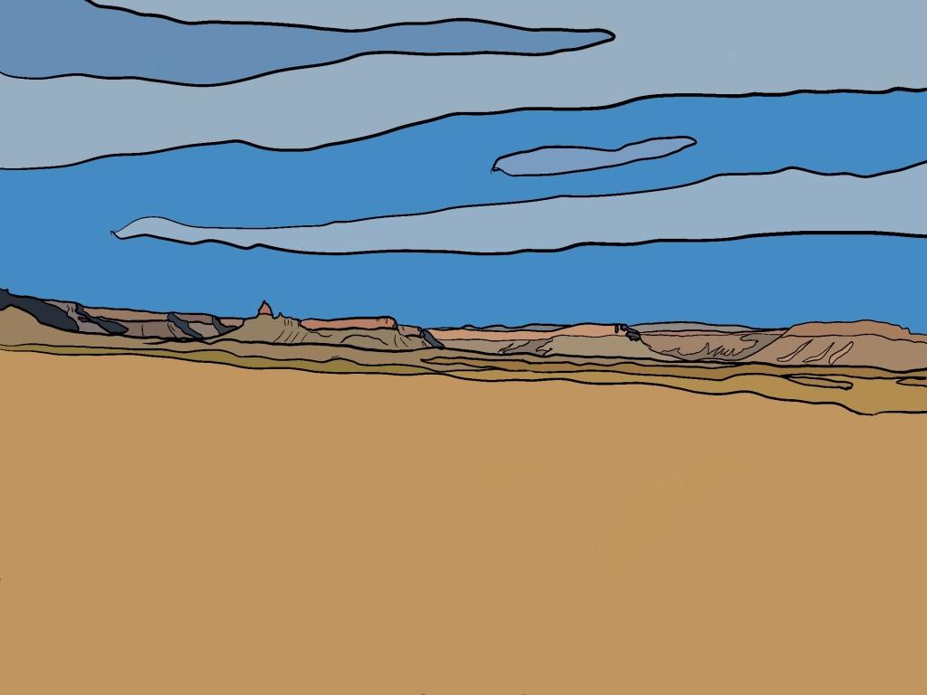 Illustration of a desert landscape by Hannah
