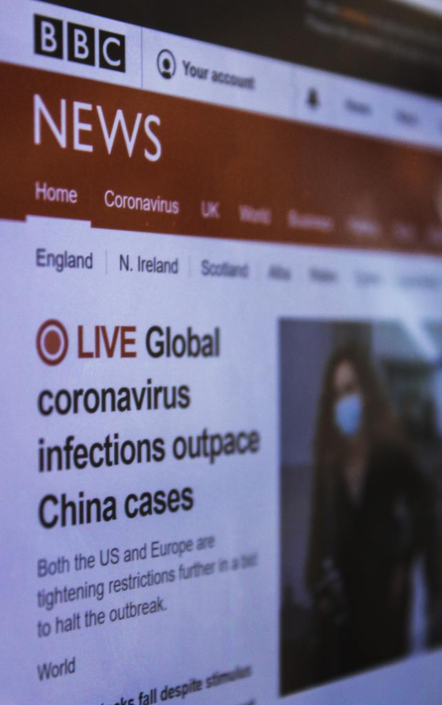 BBC webpage with coronavirus headline