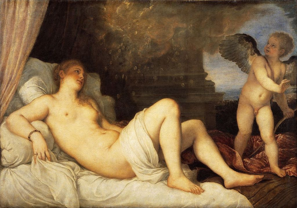 Painting of Danae by Renaissance painter Titian