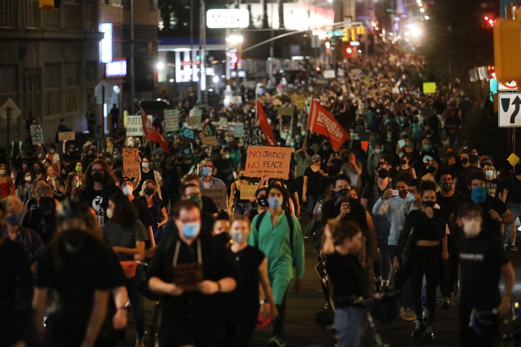 Black Lives Matter protest in New York at night