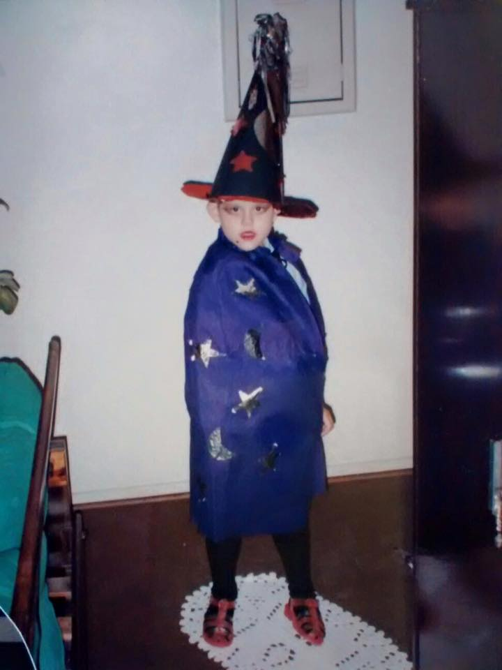 Yessica as a girl dressed up as a witch