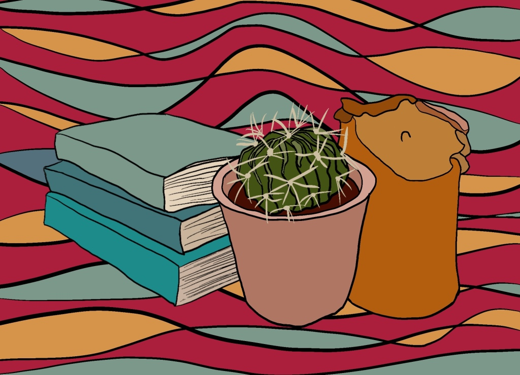 A bright illustration of multicoloured squiggly lines  has a pile of blue books, a cactus in a pink pot and a yellow, slightly melted candle.