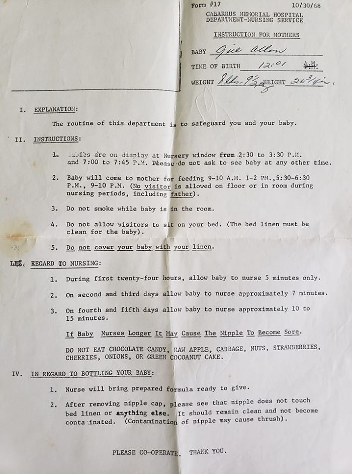 a list of hospital instructions for new mothers dated 1968