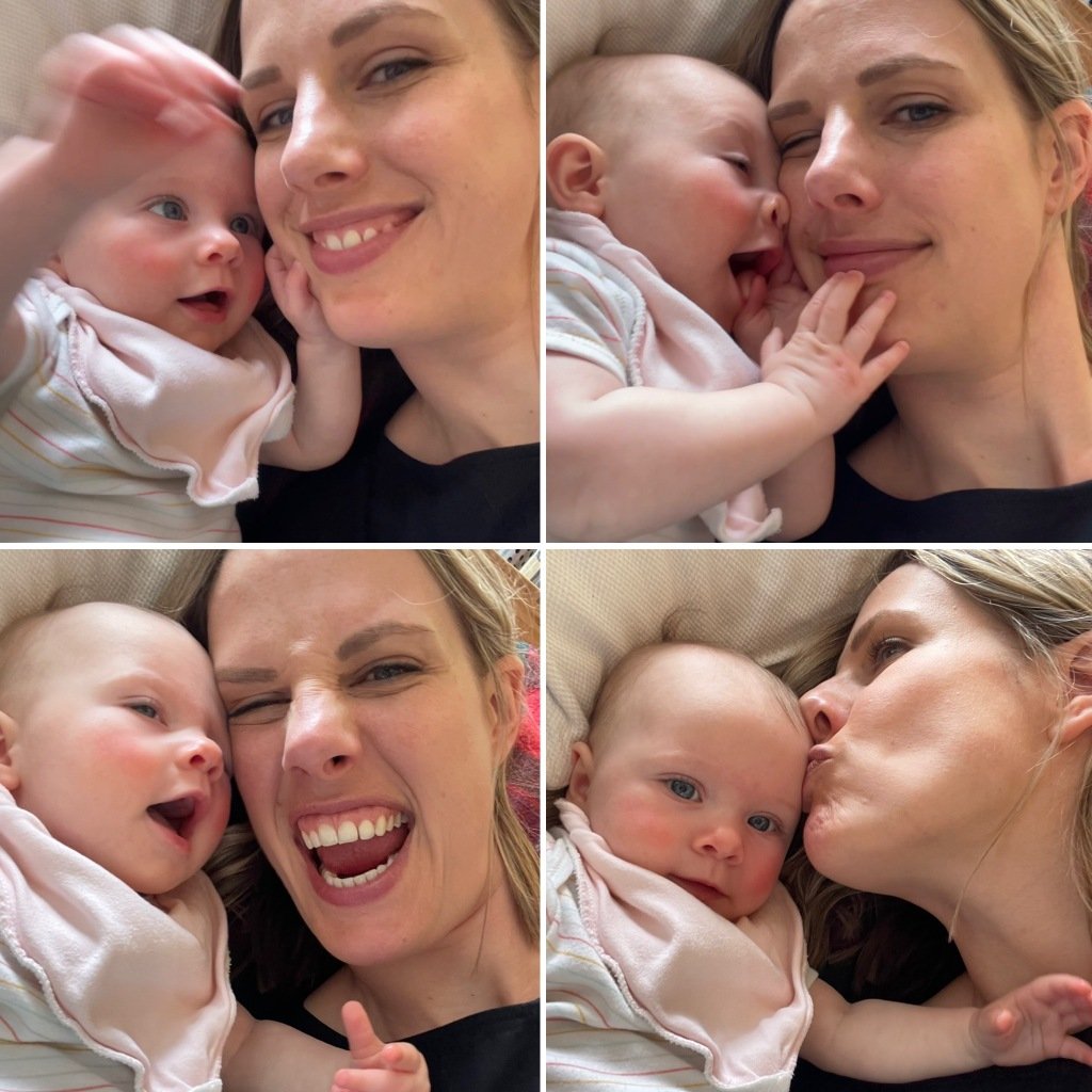 a collage of four images of the author with her daughter, both making silly faces at the camera